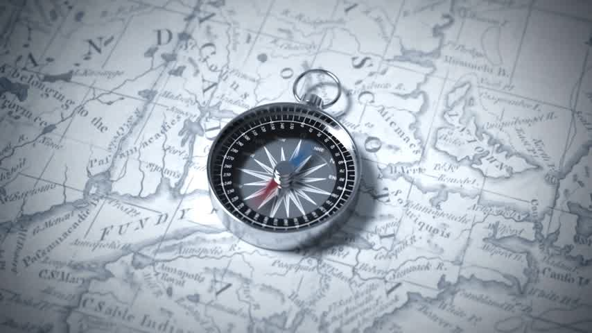 exploration : Compass On A Map. 3D Animation. Stock Footage