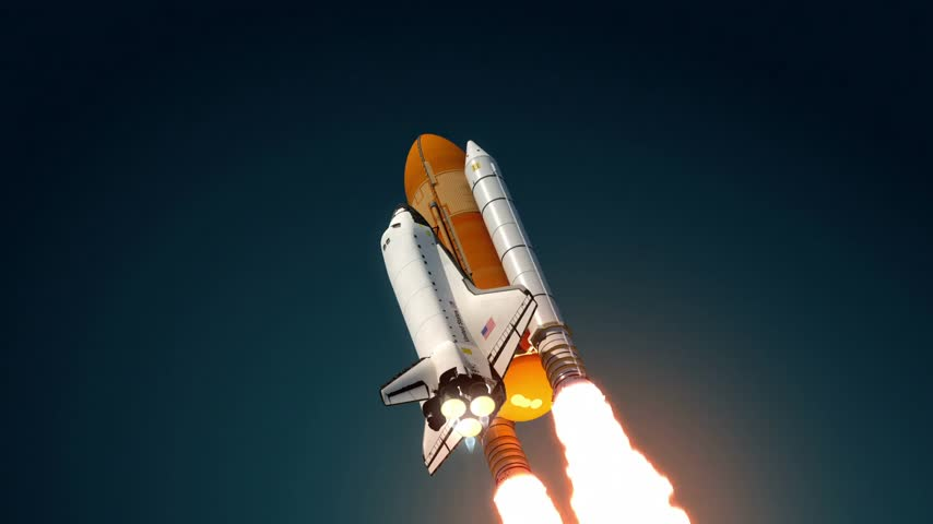 Space Shuttle Take Off. 3D Animation.