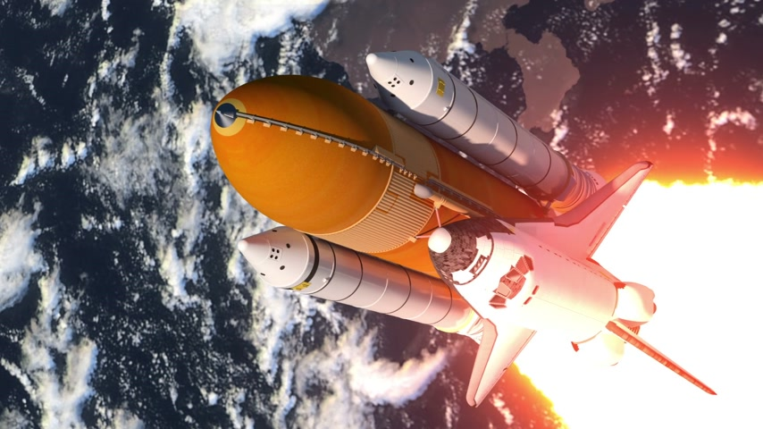 Space Shuttle Launch. 3D-animatie. Stockvideo