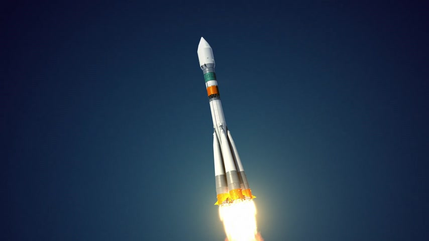 rakieta : Carrier Rocket quotSoyuz Fregatquot Takes Off. 3D Animation.