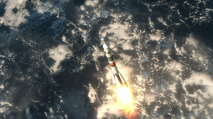 rakieta : Carrier Rocket quotSoyuzquot Takes Off. 3D Animation.