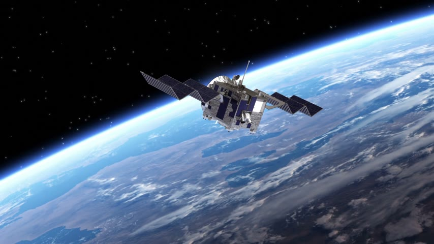Satelliet implementeert Zonnepanelen. Transition. Green Screen. 3D-animatie.