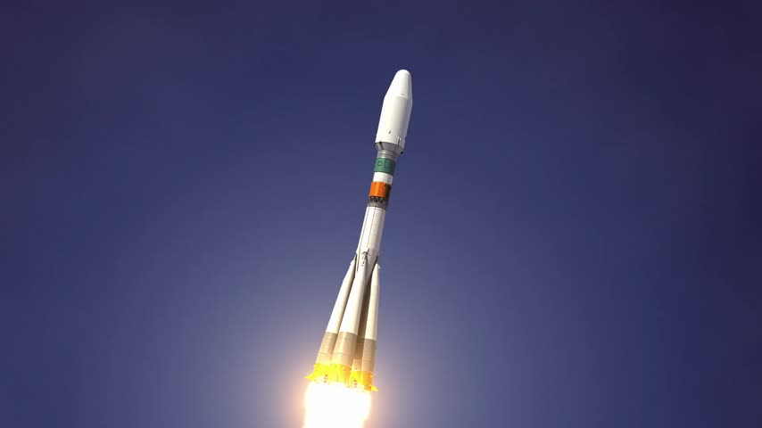 Heavy Carrier Rocket quotSoyuz2quot Takes Off. 3D Animation. Stock mozgókép
