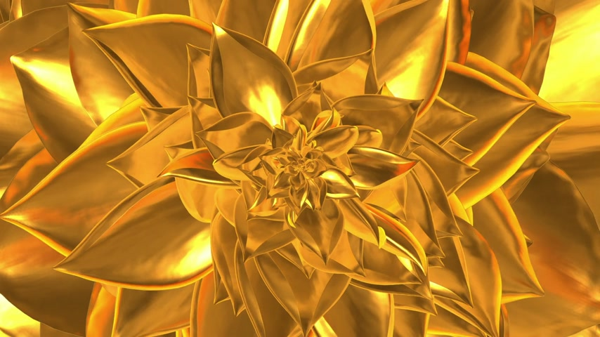 sieraad : Golden Flower Opening. 3D-animatie. Loop. Stockvideo