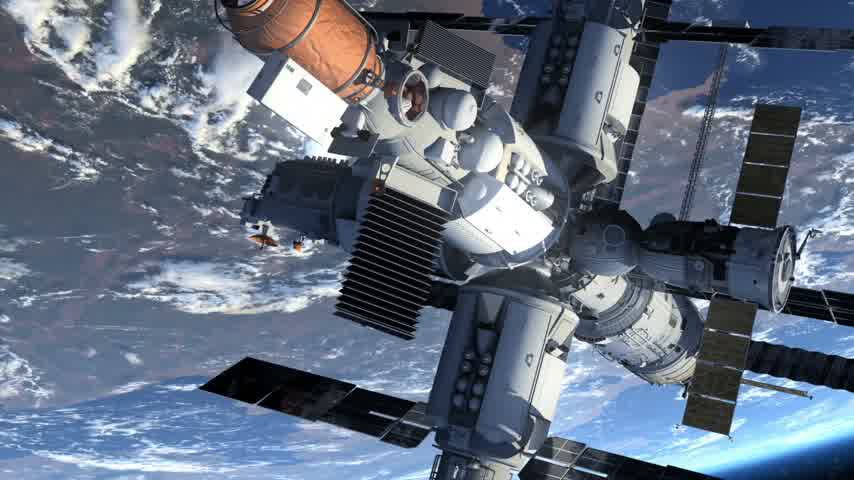 mekik : Space Station And Space Shuttle Orbiting Earth Stok Video