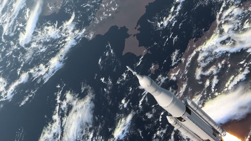 Space Launch System Takes Off. 3D-animatie.