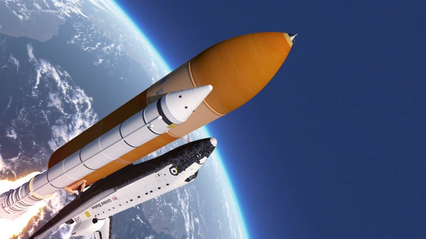 roket : Space Shuttle Takes Off. 3D Animation. Stok Video