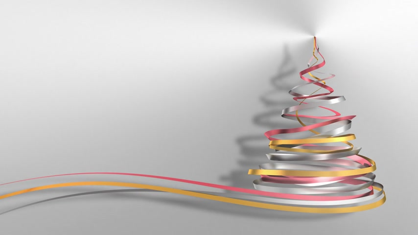 stuha : Christmas Tree From White, Pink And Yellow Tapes Over Metal Background. 3D Animation. Dostupné videozáznamy