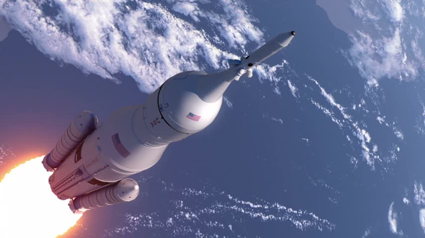 roket : Space Launch System Takes Off In Stratosphere. 3D Animation.