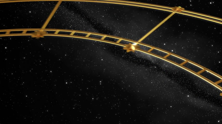 astroloji : Armillary Sphere And Zodiac Signs. Black Background. 3D Animation.