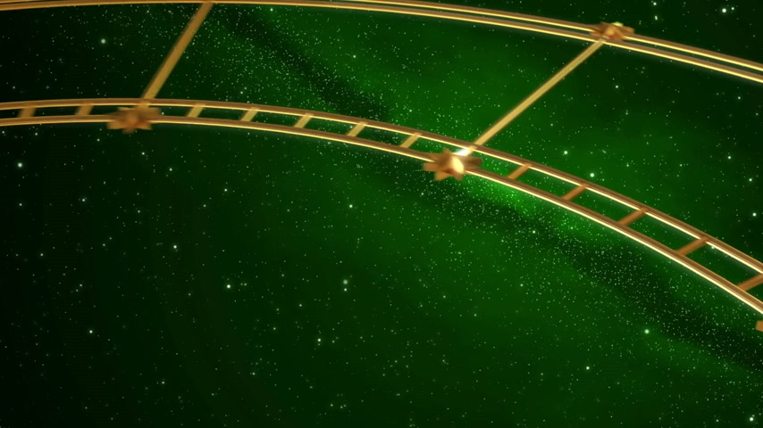 astroloji : Armillary Sphere And Zodiac Signs. Green Background. 3D Animation. Stok Video