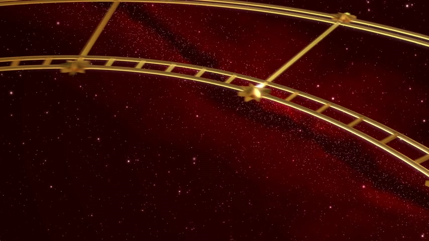astroloji : Armillary Sphere And Zodiac Signs. Red Background. 3D Animation.