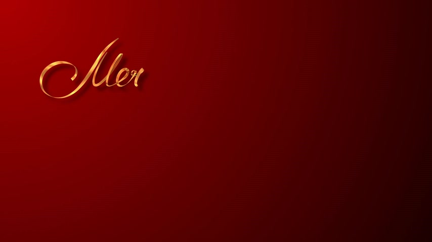 noel kartı : Writing Golden Ribbon Text Merry Christmas And Christmas Tree Over Red Background. 3D Animation. Stok Video