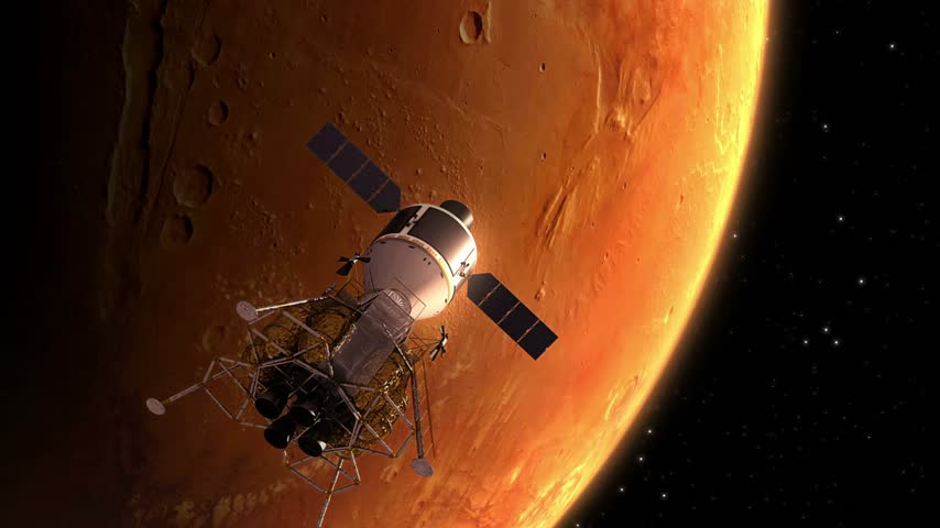 roket : Interplanetary Space Station Orbiting Mars. 3D Animation.