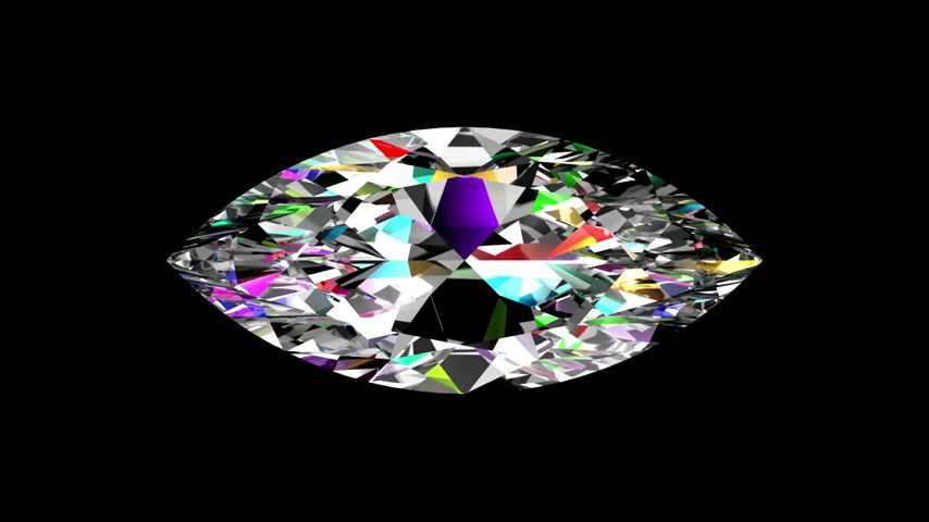 refraksiyon : Iridescent Diamond Marquise. Looped. Alpha Matte. 3D Scene.