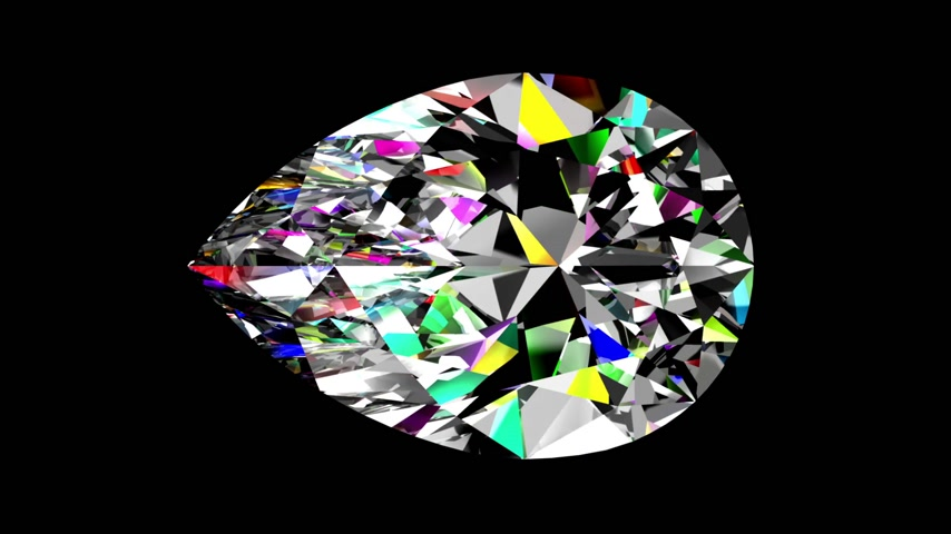 refraksiyon : Iridescent Diamond Pear. Looped. Alpha Matte. 3D Animation