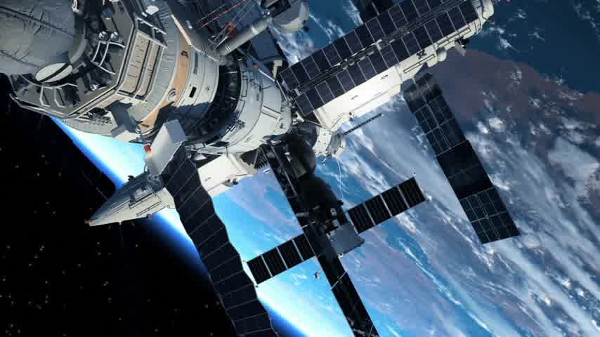 astronauta : Astronaut Outside The Space Station. 3D Animation.