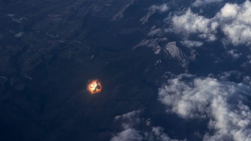 Carrier Rocket Takes Off Over The Clouds. 3D Animation.