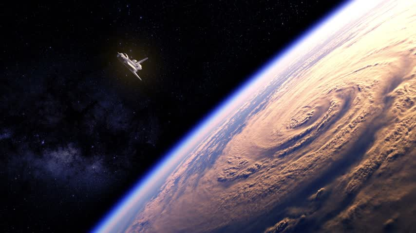 mekik : Space Shuttle Flying Over The Earth. 3D Animation. Stok Video