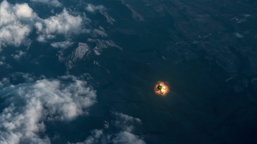 Cargo Carrier Rocket Takes Off Over The Clouds. 3D Animation. Stock mozgókép