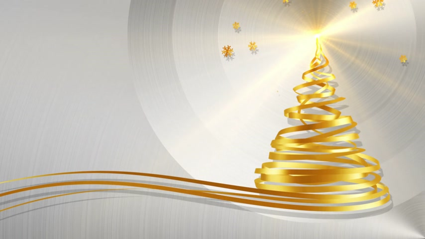 boŻe narodzenie : Christmas Tree From Gold Tapes And Snowflakes Over Metal Background. 3D Animation.