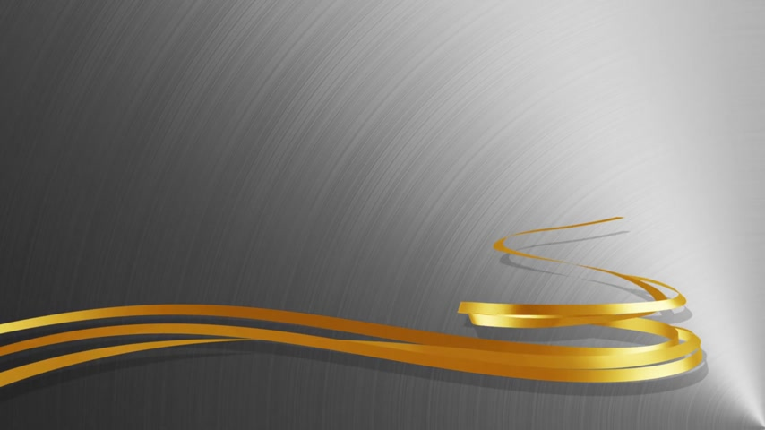 Christmas Tree From Gold Tapes Over Metal Background. 3D Animation.