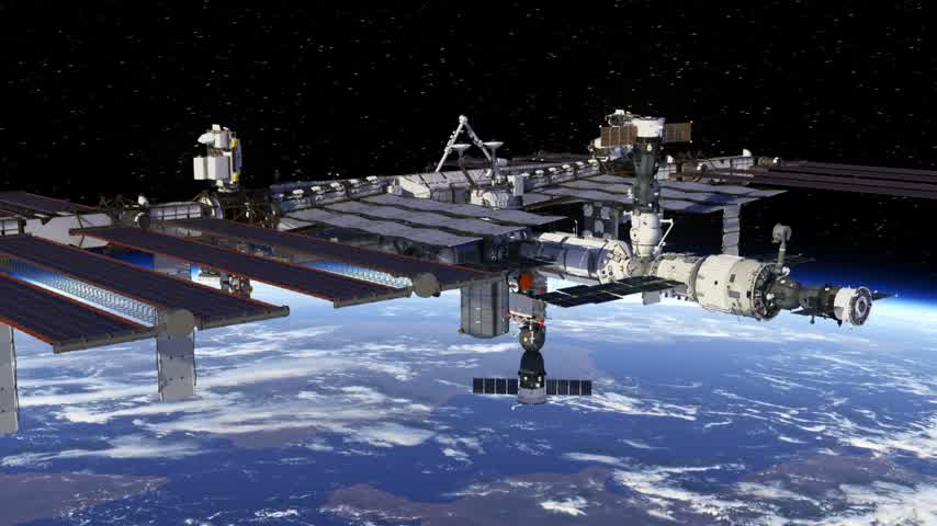 Rondvliegen International Space Station. 3D-animatie.