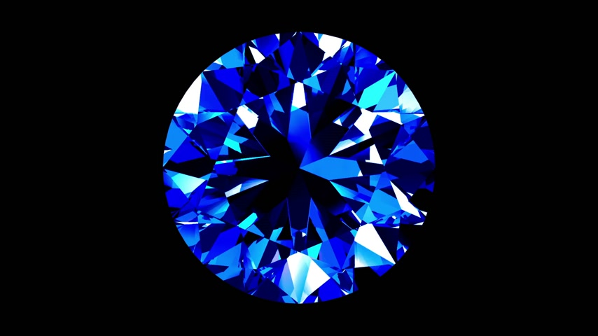 refraksiyon : Sapphire Round Cut. Looped. Alpha Matte. 3D Animation.