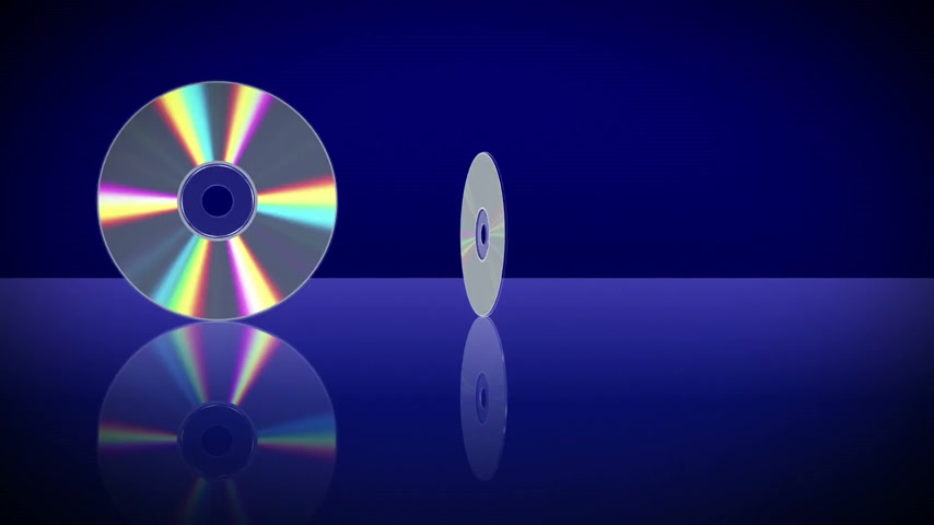 romênia : Five Laser Discs Appear One After Another. 3D Animation.