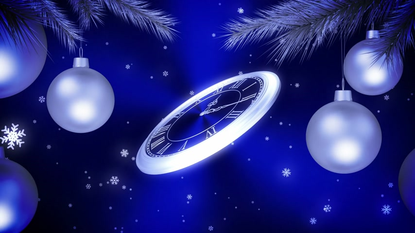 horas : Silver New Year Clock Countdown On Blue Background. 3D Animation.