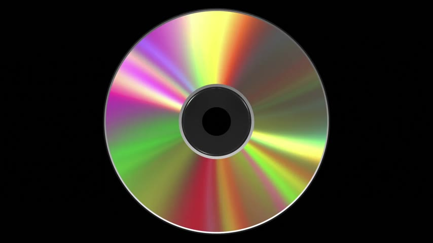 compacto : Iridescent CD DVD Disk. 3D Animation. Loop. Alpha Matte.