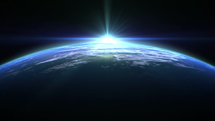 planeta : Blue Flare Over The Earth. 3D Animation. Loop.
