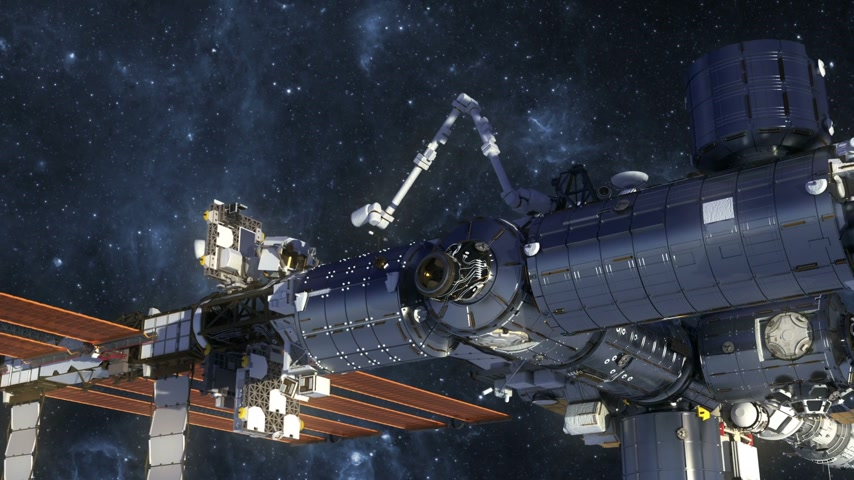 inferior : Flight Of International Space Station In Outer Space. 3D Animation.