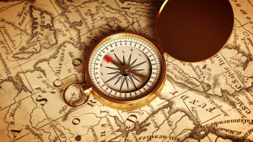 oklar : Golden Compass On The Map Indicating Direction. 3D Animation.