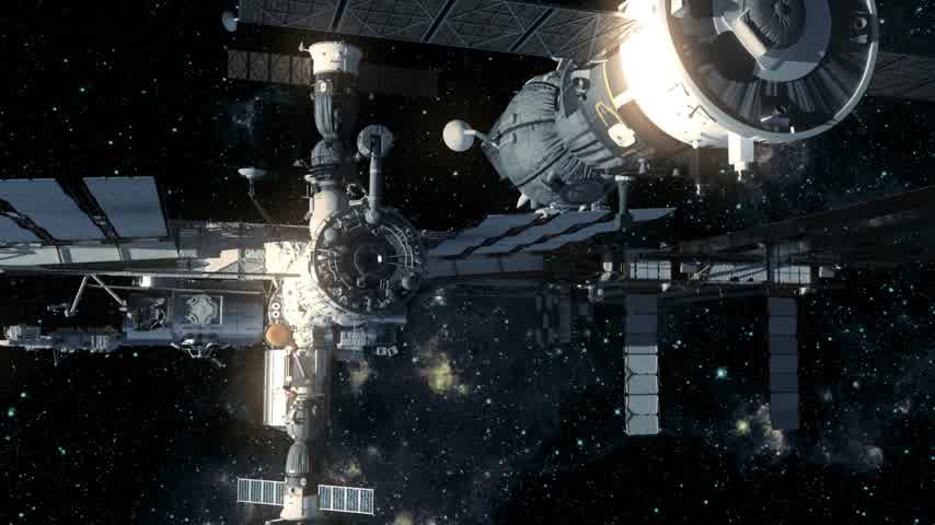felhőzet : Spacecraft Docking To International Space Station. 3D Animation.