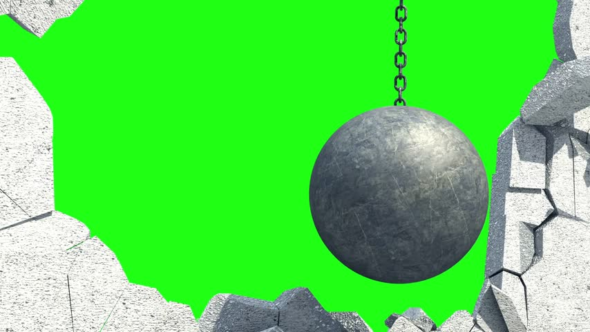 shattering : Metallic Wrecking Ball Shattering The White Wall. Green Screen. 3D Animation. Stock Footage