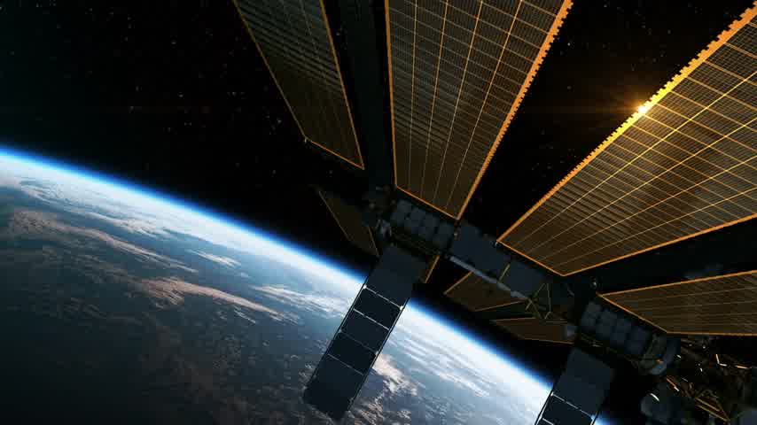sputnik satellite : Flight Of International Space Station In The Rays Of Sun. 3D Animation. Stock Footage