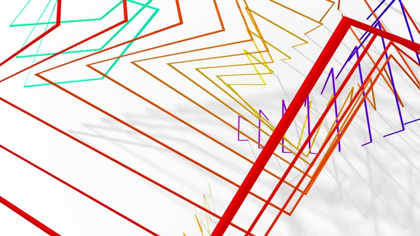 серый фон : Abstract Animated Background From Different Color Wire. 3D Animation. Seamless Looping.