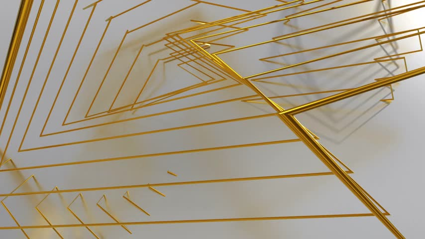 narożnik : Abstract Animated Background From Gold Wire. 3D Animation. Seamless Looping.