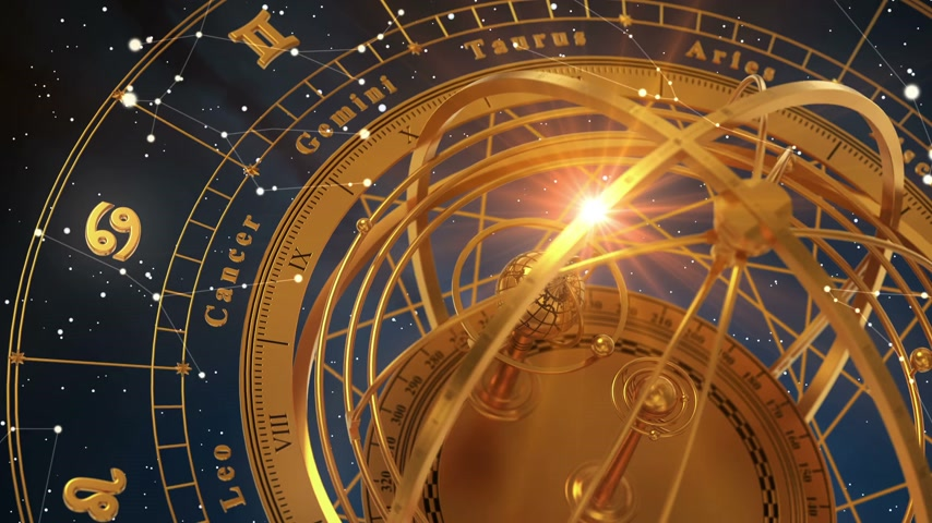 strzelec : Zodiac Signs and Armillary Sphere On Blue Background. Seamless Looped. 3D Animation. Wideo