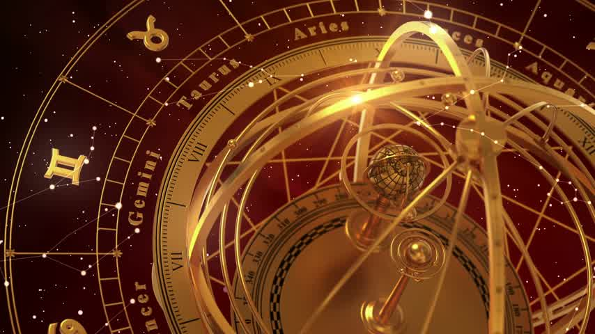 libra : Zodiac Signs and Armillary Sphere On Red Background. Seamless Looped. 3D Animation.