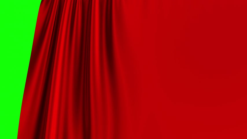 teatral : Red Curtain Opening On Green Screen. 3D Animation. 4K. Ultra High Definition.