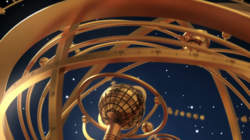 libra : Armillary Sphere And Zodiac Signs On Blue Background. 3D Animation.