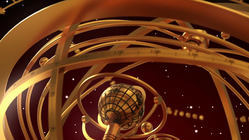 strzelec : Armillary Sphere And Zodiac Signs On Red Background. 3D Animation.
