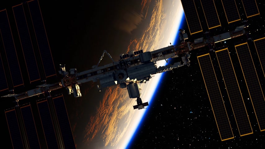 kosmická loď : Flight Of International Space Station On The Background Of Earth And Rising Sun. 3D Animation.