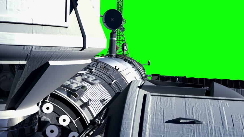 Space Station On Green Screen