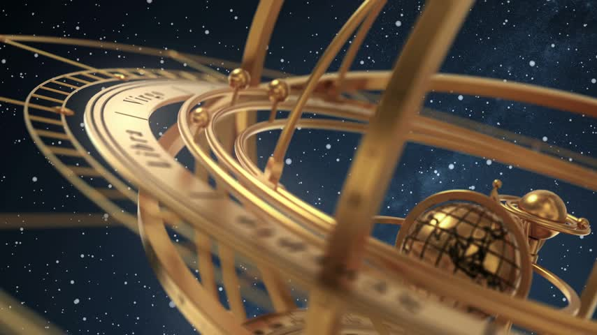 Armillary Sphere On Background Of Starburst