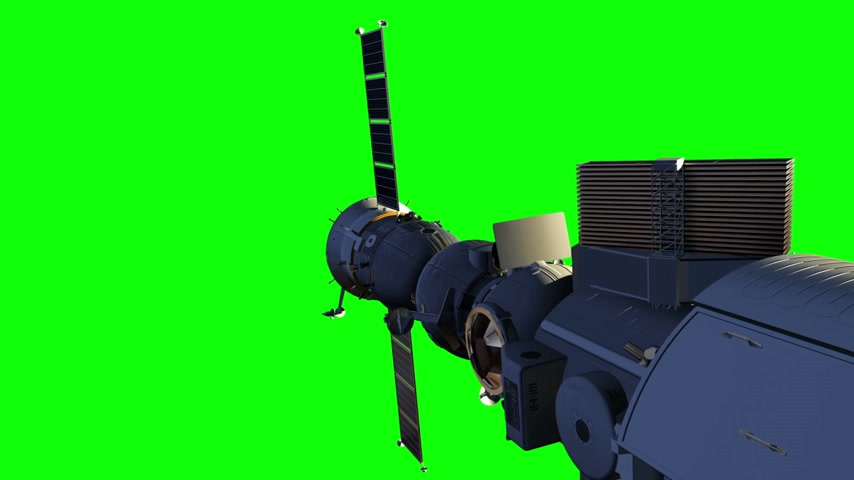 Flight Of Space Station. Green Screen