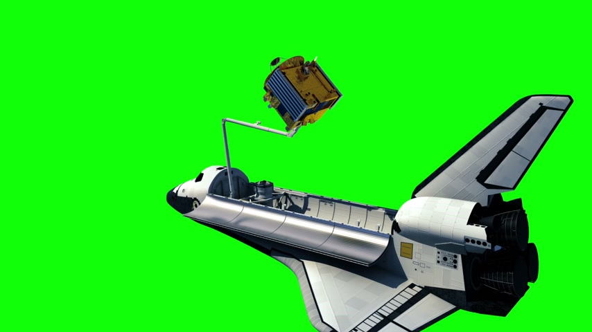 Space Shuttle Deploying Communication Satellite. Green Screen. Stock mozgókép