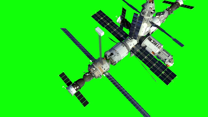 Increasing The Height Of The Orbit Of The Space Station. Green Screen. Stock mozgókép